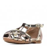 Туфли для девочки из искусственной кожи открытые на застежке, золотые