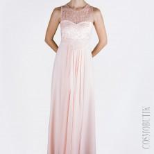 Платье с ажурным лифом и воздушным шарфом