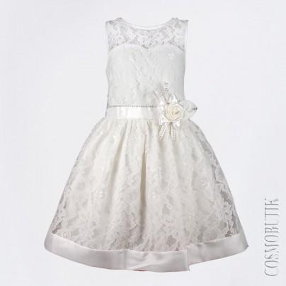 Вечернее молочное платье