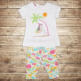 Разноцветный костюм  для новорожденного из туники и лосин
