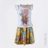 Комплект из хлопковой юбки и трикотажной футболки