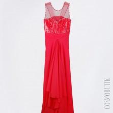 Красное платьев пол с жемчугом и стразами