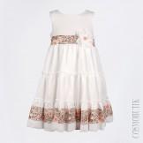 Хлопковое молочное платье с пояском