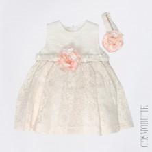 Платье молочного цвета с повязкой