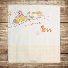 Детское одеяло с железной дорогой