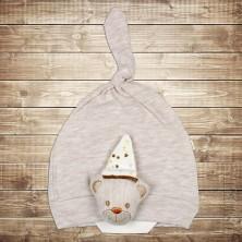 Шапочка для новорожденного с мишкой