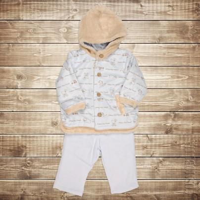 Плюшевый утеплённый костюм для новорожденного