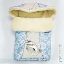 Голубой конверт для новорожденного с шерстью