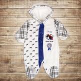 Комбинезон для новорожденного молочный с синим