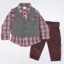 Костюм для мальчика из из рубашки, жилета и вельветовых штанов