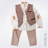 Детский нарядный костюм для мальчика из рубашки с бабочкой, жилета и брюк