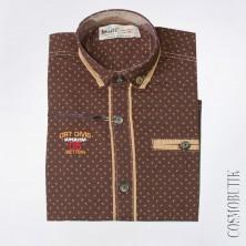 Коричневая рубашка для мальчика с длинным рукавом