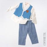 Бело-голубой костюм из рубашки  с длинным рукавом, жилета и брюк с ремнём