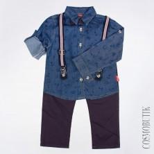 Костюм рубашки с длинным рукавом бабочки и брюк