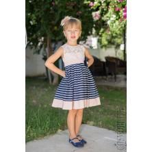 Платье сине-пудровое с брошью
