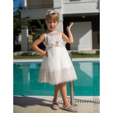 Молочное платье без рукава
