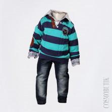 Комплект из рубашки, джинсов на подтяжках и джемпера