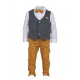 Серо-горчичный костюм из рубашки, жилета, бабочки и брюк