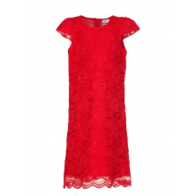 Красное ажурное платье с ободком