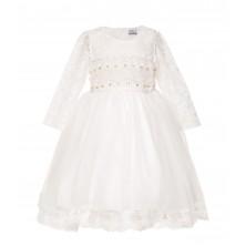 Платье молочного цвета с длинным рукавом