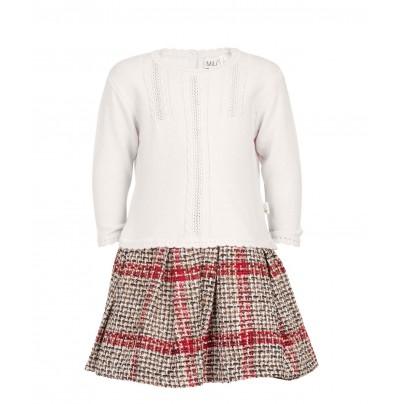 Теплое платье с твидовой юбкой