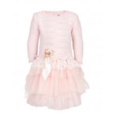 Теплое розовое платье с длинным рукавом