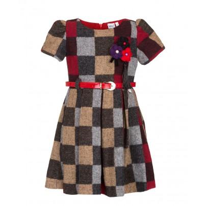 Платье в клетку с кожаным ремешком
