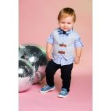 Стильный костюм для мальчика от компании Bebus из жилета, рубашки, бабочки и брюк