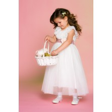 Воздушное кремовое платье в пол с розовым поясом