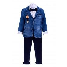 Костюм с джинсовым пиджаком и синими брюками