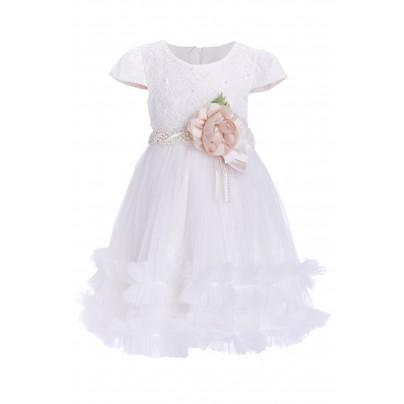 Белое платье для девочки с пышной юбкой