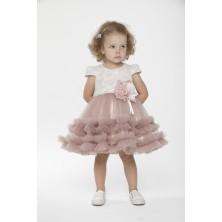 Розово-серое  платье с цветами на поясе