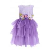 Фиолетовое  платье с цветами на поясе