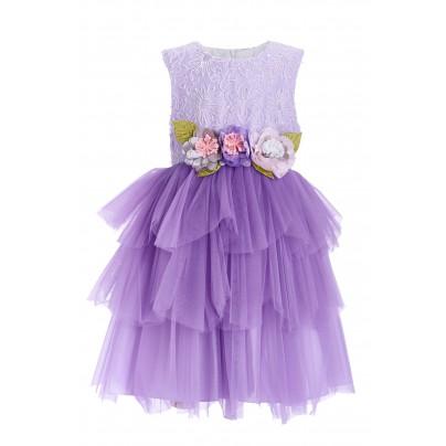 Фиолетовое платье для девочки с цветами на поясе