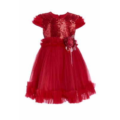Красное платье для девочки с цветами на поясе